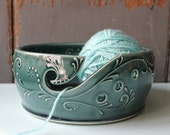 """DISCOUNT """"LOVE"""" Extra Large 9 inch Yarn Bowl, Teal Green, Crochet, Knitting, knitters gift In Stock"""