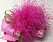 Princess Hair Bow Fuchsia Pink Marabou Posh Diva Girl Boutique Toddler Pageant Birthday Party Back to School