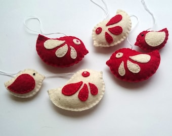 Felt birds ornament pack nursery decor Christmas decoration party supplies red and white birds - set of 6 - any color