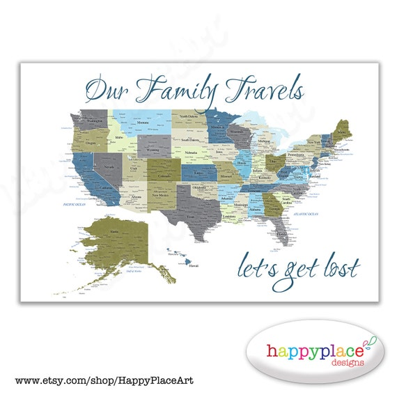 Large Printable Our Family Travels Lets Get Lost USA - Large printable us map