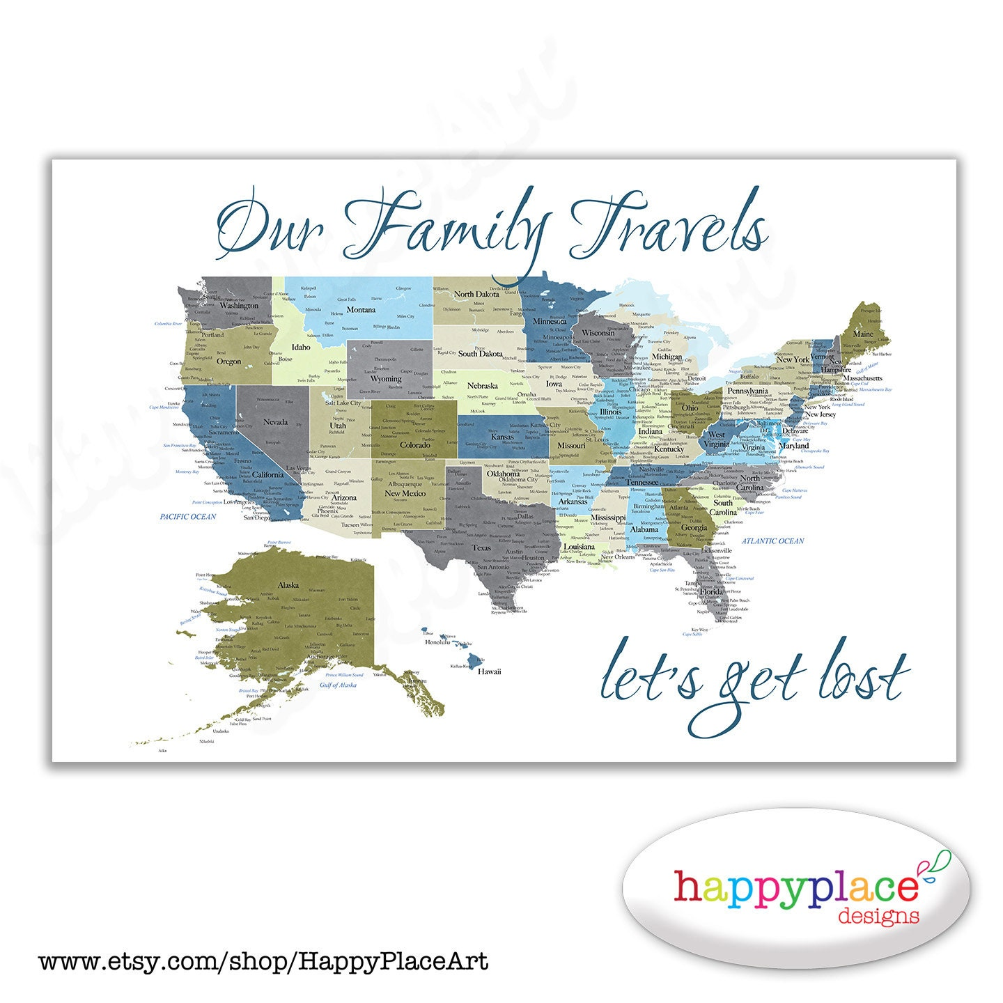 Family Map Etsy - Chicago el map poster