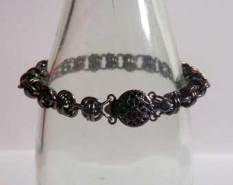Black Chainmaille Bracelet with Fancy Clasp
