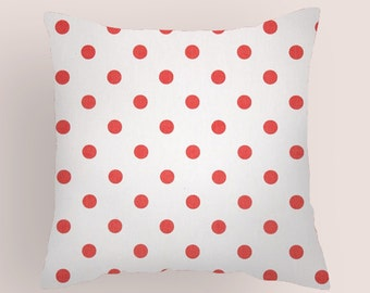 Red  Decorative Pillow Cover. 14x14, 16x16, 18x18, 20x20 Euro and Lumbar. Bittersweet Polka DotsThrow Pillow Cover. All Sizes