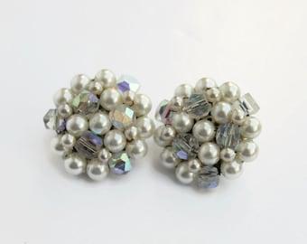 Vintage White Aurora Borealis Beaded Earrings, Costume Jewelry, Made in Japan, Circa 1960's