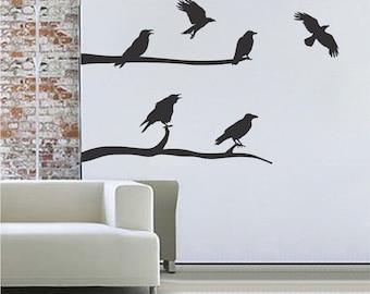 Crow Decal Wall Stickers, Halloween Wall Decal, Crow Halloween Decor, Bird Wall Decal, Halloween Wall Decor, Creepy Crow Wall Decal Art, h19
