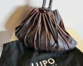 Splendid brown leather Lupo shoulder bag; Barcelona, Model Abanico, with cards purse; with dustbag. VG condition!!
