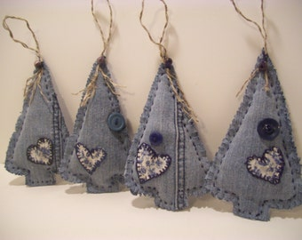 Christmas Trees, Primitive, Ornaments, Bowl Fillers, Home and Living, Home Decor, Handmade, Holiday Decor, Blue Jean, Upcyled, Hearts,