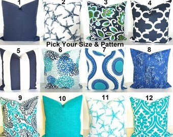 BEACH OUTDOOR PILLOW Blue Throw Pillow Covers Blue Throw Pillows Turquoise 16 18 20x20 Aqua Green Gray Outdoor Pillow Cover Grey Pillow