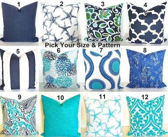 BLUE OUTDOOR PILLOWS Blue Throw Pillow Covers Beach Throw #0: il 570xN kl5h