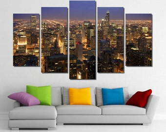 """60""""x36"""" Framed Huge 5 Panel Art Chicago Skyline Giclee Canvas Print - Ready to Hang"""