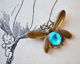 Vintage Bug Jewelry ~ Brass Fly Brooch ~ C-Clasp Brooch ~ Antique Bug Brooch