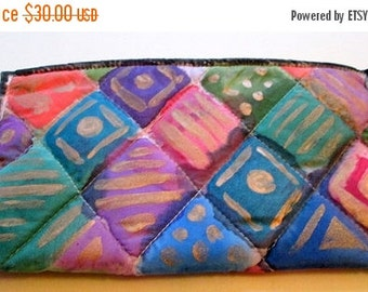 Small purse accessory quilted  hand painted silk -  women accessory - unique gift under 50 -  one of a kind made in the Hudson Valley
