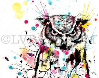Owl Splatter Tree Fine Art Print