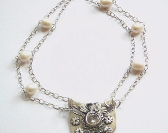 Silver Metal Clay Necklace. Silver Necklace with Zircon and Pearls.