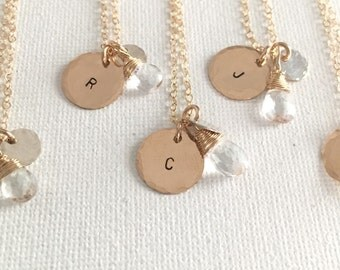Personalized Necklace, Personalized Mother's Necklace, Personalized Mother's Gift, Bridesmaid, Stamped Initial, White Topaz Gold Necklace
