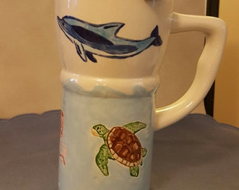 16 oz Covered Travel Mug with Hand-Painted Sea Design of Dolphins Seahorses Sea Turtles and Jellyfish