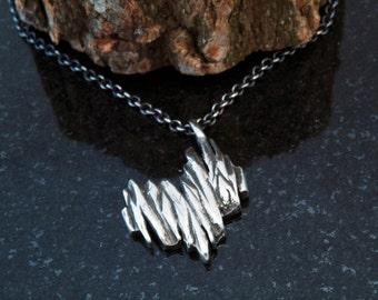 Hand sculpted heart bark pendant - Oxidized silver 925