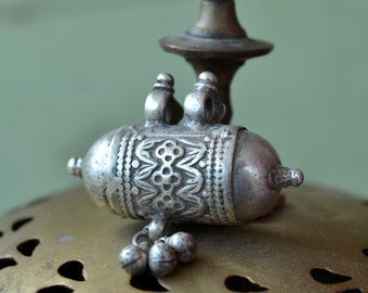 Indian silver pendant tribal prayer box cylinder amulet pendant gypsy ethnic hindu necklace piece with bells