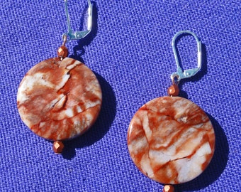 Jasper Earrings, Natural Stone Earrings, Natural Earrings, Jasper