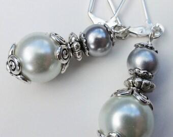 Bridal Pearl Earrings, White Pearl Earrings, Wedding Earrings, Bridal Earrings, White Silver Earrings