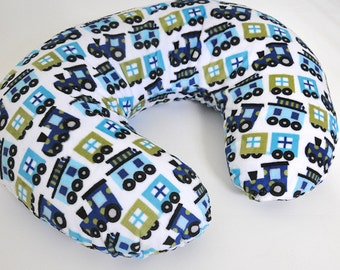 Bobby Cover in Blue Train Print Minky Minky Nursing Pillowcover, baby gift, shower gift