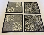 Set of 4 Black and White Hot Pads/Mug Rugs/Pot Holders/Coasters  LDT044