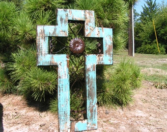 Large wall cross, christian wall art, unique religious gift, handmade usa, scrolled iron 0000