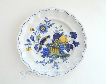 Copeland Spode blue bird pattern dinner plate handpainted transferware farmhouse kitchen cottage primitive vintage home decor English