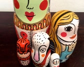 Alice in wonderland,Matrioska, five pieces nesting doll hand painted, one of a kind