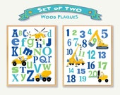 """Kids Construction Alphabet And Numbers 11""""x14"""" Wooden Art Plaque 'Set Of 2' Letters Numbers Construction Vehicles Boys Wall Art"""
