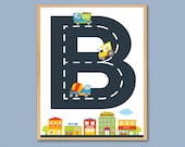 """Personalized Construction Vehicles Kid's Wooden Art Plaque 11""""x 14"""" Boy's Name Room Decor Toddler Boy Playroom Nursery Wall Art Gift"""
