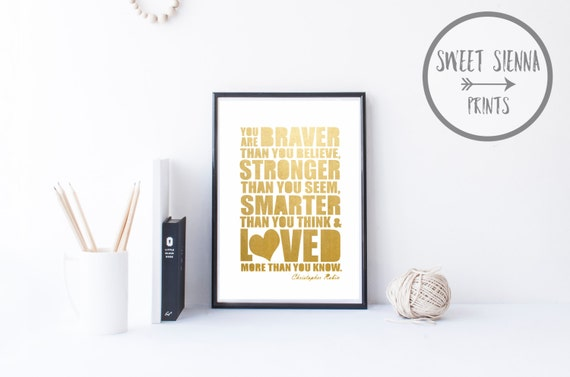 "Printable Nursery Art, Christopher Robin Quote, Nursery decor, baby nursery art, Nursery Wall quote, Gold Foil print, 8x10"" Jpeg"