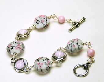 Pink and Gray Artisan Lampwork Glass Bracelet - Handmade Jewelry