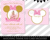 Pink and Gold Minnie Mouse First Birthday Party Invitation, 1st Birthday, Gold Glitter, Girl, Printable Invitation - FREE thank you card