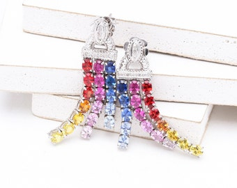 LGBT Pride Rainbow Sapphire Earrings, Natural Ethical Gemstone Jewelry CHARLOTTE Rainbow Sapphire & Diamond Earrings in 18k Gold SKU: 7385