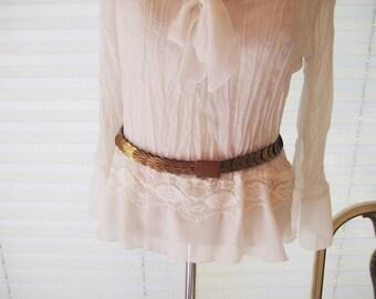 Thin gold metal belt, waist or hip belt, medium to large belt, stretch belt