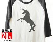 Unicorn tshirt Animal tshirt women t shirt baseball tee 3/4 sleeve shirt unisex size S M L