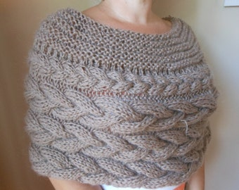 Cable Knitted Shawl Capelet Wedding Shrug Poncho Neck Warmer  Beige Choose Color