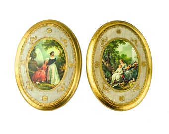 Set of 2 Oval Wood Florentine Pictures - Made In Italy