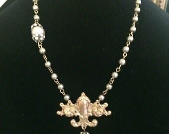 Fleur de Lis Gilded Pendant Artisan Necklace
