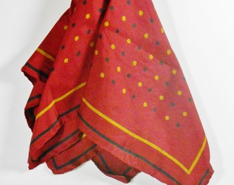 Vintage Italian Silk Scarf- Vintage Men's scarf - Menswear Silk Scarf - Polka Dots
