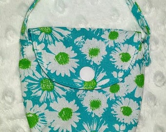 Pacifier Pouch in Teal with White and Lime Green Daisies, Pacifier Pouch, Pacifier Bag, Pacifier Holder, Pacifier Case, Binky Pouch