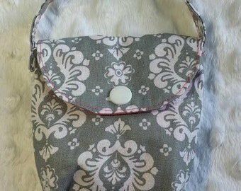 Gray Damark Pacifier Pouch, Pacifier Holder, Paci Pouch, Diaper Bag Accessory, Choice of Lining Color.