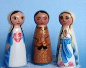 Catholic Saint Hand Painted Woodrn Peg Doll
