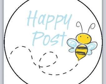 Bumble bee Happy Post stickers