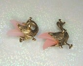 Vintage Mother of Pearl Swan Brooches