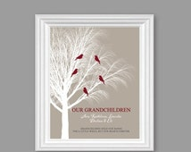 ON SALE Personalized GRANDPARENTS Art Print Gift, Our Granchildren // Grandparents art print, Khaki, 8x10 or 11x14 // Birthday Christmas Gif
