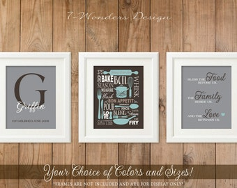 Bless the Food Before Us, Monogram, Kitchen Art Prints, // Grey, Brown, Mute Blue Kitchen Decor // Set of 3 - 5x7, 8x10 or 11x14 - UNFRAMED