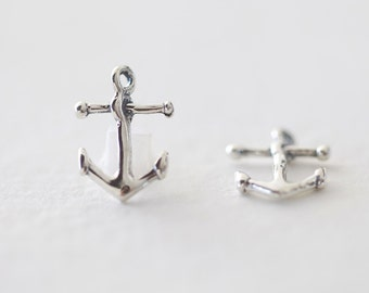 Oxidized Anchor Sterling Silver Charms 02 - nautical summer ocean vacation pendant, 2 pcs, 15mm
