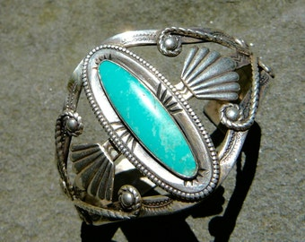 Sterling Silver Turquoise Native American Bracelet, Turquoise Sterling Silver, Fred Harvey, Vintage Tourist Bracelet, Bell Trading Tourist
